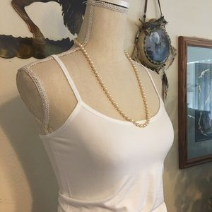 Vintage 80s knotted costume cream pearl necklace